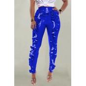 Lovely Trendy Flounce Design Blue Pants