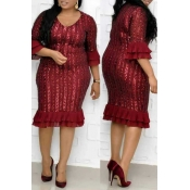Lovely Trendy Print Flounce Wine Red Knee Length P