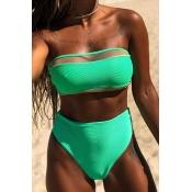 Lovely Patchwork Green Two-piece Swimwear