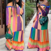 Lovely Bohemian Print Patchwork Multicolor Maxi Dr