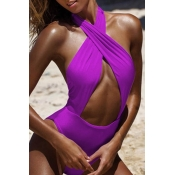 Lovely Hollow-out Purple One-piece Swimsuit