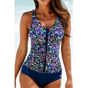 Lovely Patchwork Blue One-piece Swimsuit