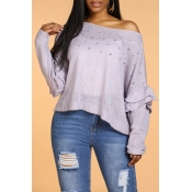 Lovely Sweet Flounce Design Light Purple Sweater