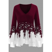 Lovely Casual Patchwork Wine Red  Plus Size Blouse