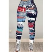 Lovely Trendy Printed Blue Pants