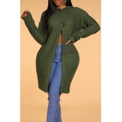 Lovely Leisure Hooded Collar Green Long Cardigan