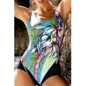 Lovely Bohemian Patchwork Green One-piece Swimsuit