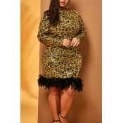 Lovely Casual Patchwork Yellow Plus Size Mini Dres