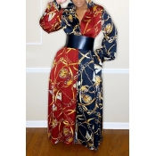 Lovely Trendy Print Loose Multicolor Maxi Dress(Wi