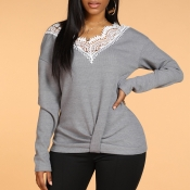 Lovely Christmas Day Lace Patchwork Grey Sweater