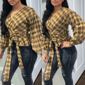 Lovely Casual Plaid Print Yellow Blouse