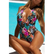 Lovely Floral Print Rose Red One-piece Swimwear