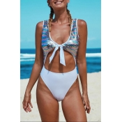 Lovely Sequin Hollow-out Multicolor One-piece Swim
