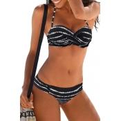 Lovely Striped Black Two-piece Swimwear