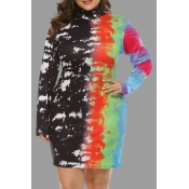 Lovely Casual Print Plus Size Mini Dress