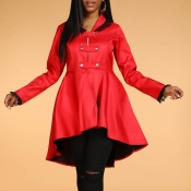 Lovely Casual Buttons Red Coat