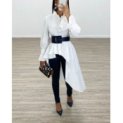 Lovely Casual Asymmetrical White Blouse(Without Be