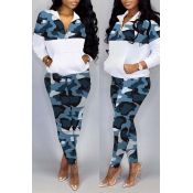 Lovely Trendy Camo Patchwork Blue Two-piece Pants