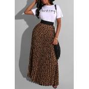 Lovely Street Leopard Print White Two-piece Skirt