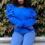Lovely Casual Ruffle Design Blue Blouse
