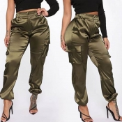 Lovely Casual Pocket Brown Pants