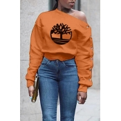 Lovely Casual Print Orange Sweatshirt Hoodie