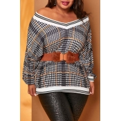Lovely Chic Geometric Print Grey Plus Size Sweater