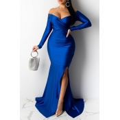 Lovely Party V Neck Side Slit Blue Trailing Prom D