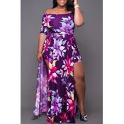 Lovely Chic Floral Print Purple Ankle Length Plus Size Dress