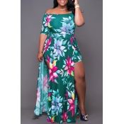 Lovely Chic Floral Print Green Ankle Length Plus S