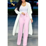 Lovely Casual Embroidery White Cardigan