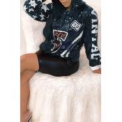 Lovely Casual Printed Black Sweatshirt Hoodie