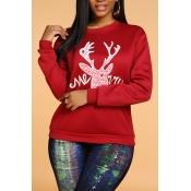 Lovely Casual Print Wine Red Sweatshirt Hoodie