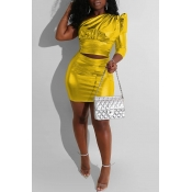 Lovely Trendy One Shoulder Gold Two-piece Skirt Set