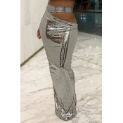 Lovely Casual Sequin Silver Skirt