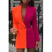 Lovely Work Turn-back Collar Patchwork Orange Mini