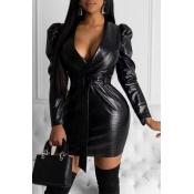 Lovely Chic V Neck Skinny Black Mini Dress