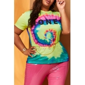 Lovely Casual Print Yellow Plus Size T-shirt