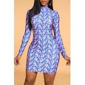 Lovely Chic Print Skinny Blue Mini Dress