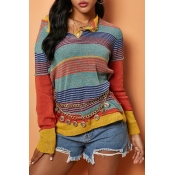 Lovely Casual Striped Jacinth Sweater