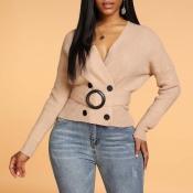 Lovely Casual V Neck Khaki Sweater