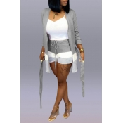 Lovely Casual Patchwork Light Grey Two-piece Shorts Set(Without Tank Top)