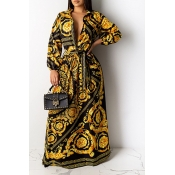 Lovely Party Print Loose Gold Maxi Dress