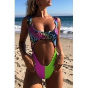 Lovely Hollow-out Print Multicolor One-piece Swimsuit