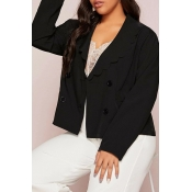Lovely Casual Buttons Black Plus Size Blazer
