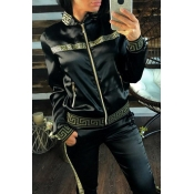 Lovely Casual Print Zipper Black Two-piece Pants S