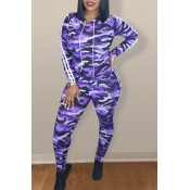 Lovely Chic Print Purple Two-piece Pants Set