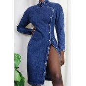 Lovely Chic O Neck Button Design Blue Knee Length