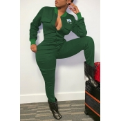 Lovely Casual Eye Print Green One-piece Jumpsuit