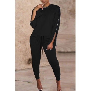 Lovely Casual O Neck Basic Black Two-piece Pants Set